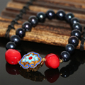 High grade 9-10mm natural black pearl approx round beads strand bracelet red coral cloisonne free shipping jewelry 7.5inch B2970