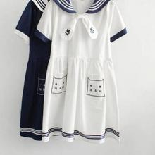 2018 Spring Girl Navy Style Dress Vestido Sailor Collar Cat Embroidery Plus Size Vestidos Mori Girl Lovely Clothing
