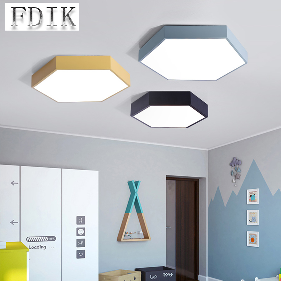 Hexagonal Ceiling lamp Surface Mounted Dimmable Macaron Color Droplight Ceiling lights Decorative lighting For Study Living room