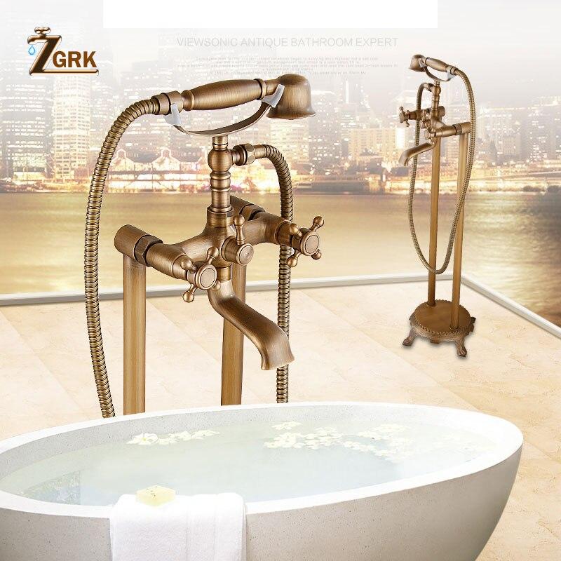 ZGRK Brass Bathroom Faucet Bathtub Faucets Mixer Tap Floor Stand Faucets Telephone Type Hand Shower Antique Bath Shower Set