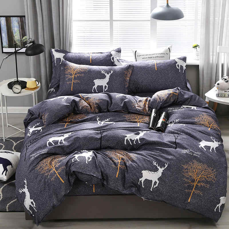 Aloe Cotton Trees Deer Pattern Bedding Set Soft Skin-friendly Duvet Cover & Flat Bed Sheet & Pillowcase Home Textile Wholesale