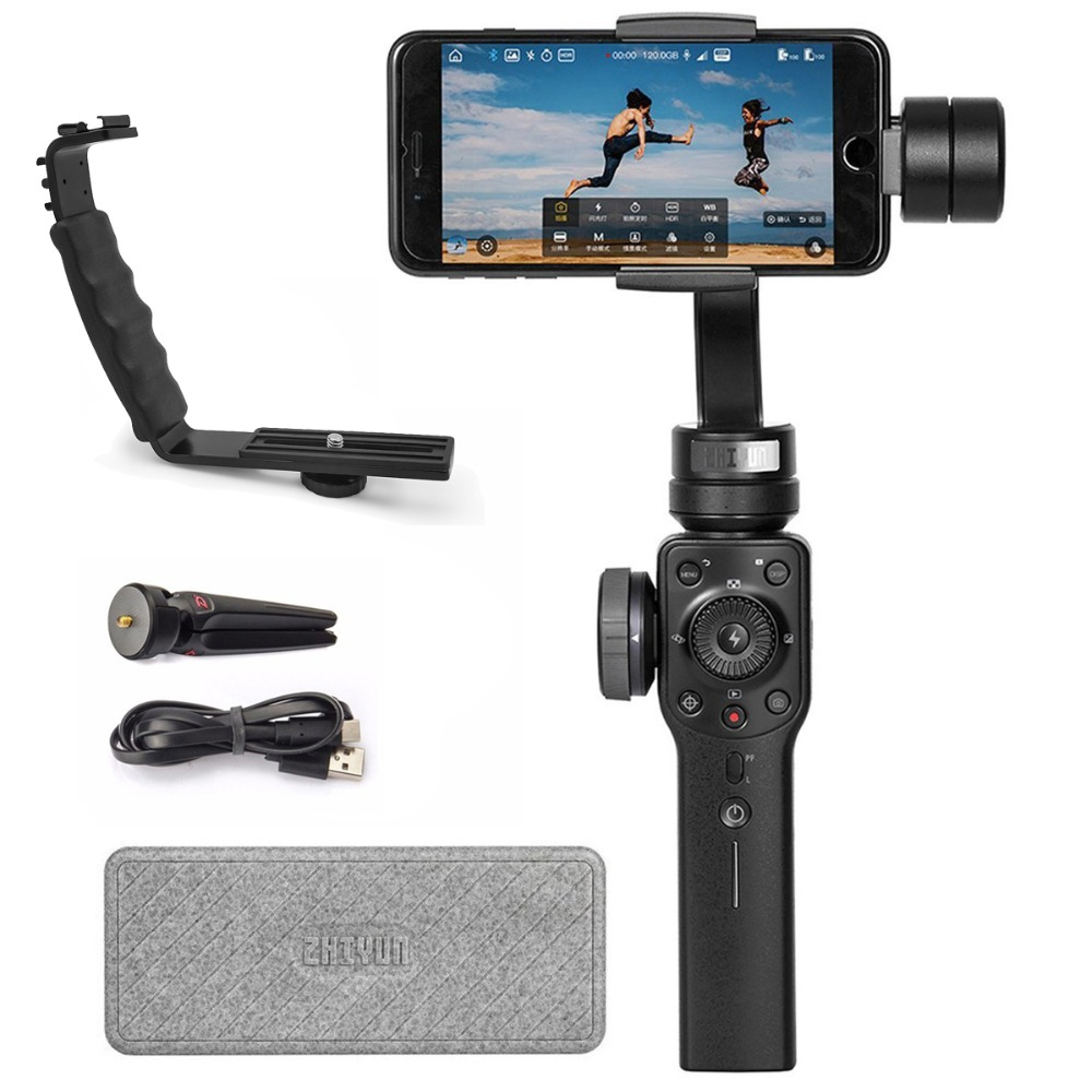 Zhiyun Official Smooth 4 Handheld Gimbal 3-Axis Portable Gimbal Stabilizer for Smartphone like iPhone Sumsung Vlogger Must-have