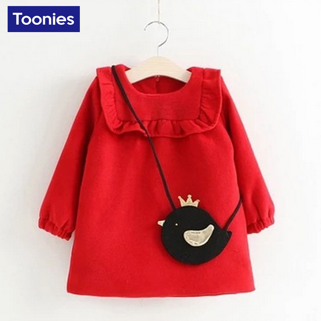 Sloid Princess Clothing 2016 Autumn Fashion Formal Cute Girls Cartoon Birds Pure Wool with Long Sleeve Cashmere  for Girls