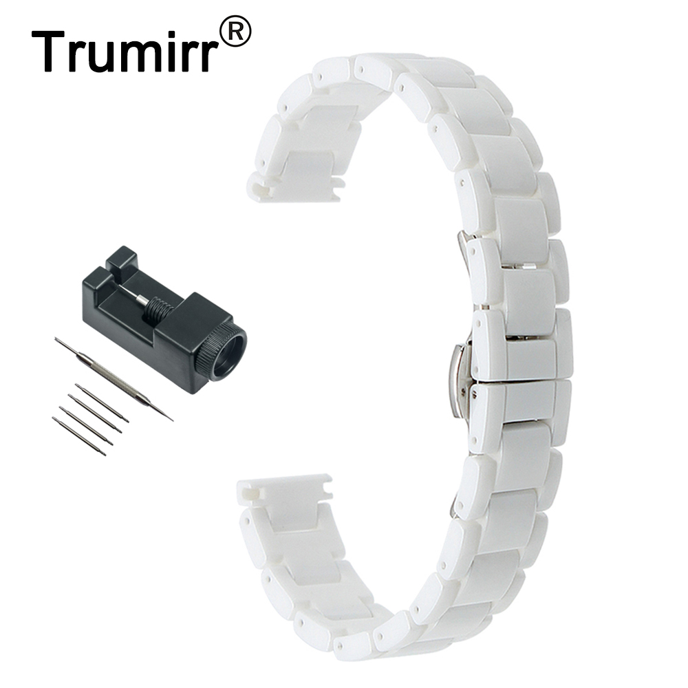 14mm Full Ceramic Watch Band + Link Remover for Armani Women's Butterfly Buckle Strap Wrist Belt Bracelet Black White 16mm ceramic watch band for huawei talkband b3 women s butterfly buckle strap wrist belt bracelet black white tool spirng bar