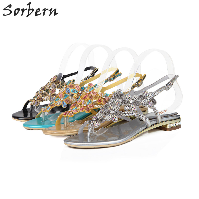 Flat With Rome Women Crystal Sandals 2017 Ladies Party Shoes Cheap Modest Rhinestone Hot Sale Shoes 2.5CM Heels Sandal