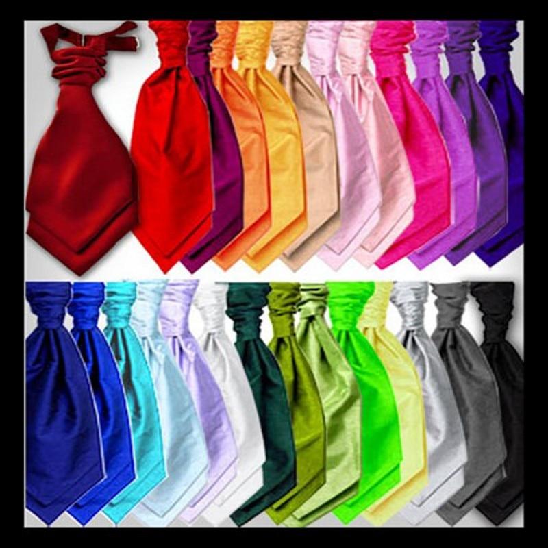 Cheap Ties Italian Mens Cravats Neckwear Satin Solid Color Ascots Gentleman Neckties Party Pre-Tied Cravat Tie For Wedding