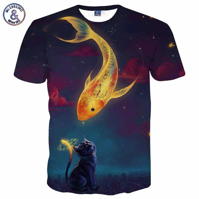 Mr.1991INC Space Galaxy T-shirt Men/Women 3d T shirt Print Cat Kiss Golden Fish Tees Summer Tops T-shirt Brand Plus 3XL 4XL