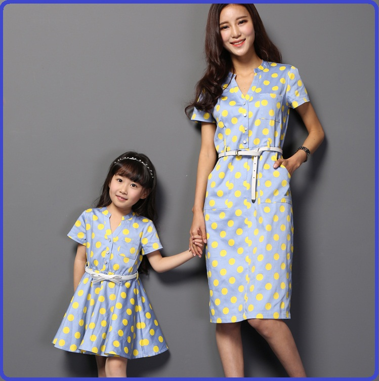 2015 summer style family matching clothes mom and daughter