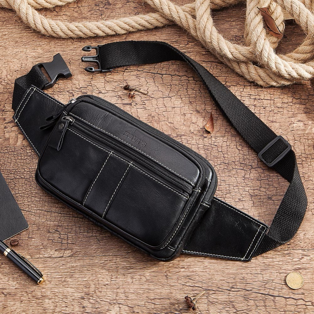 KAVIS Fashion 100 Cowhide Genuine Leather Men Waist Bag Packs Pack Belt Loops Hip Mobile Phone