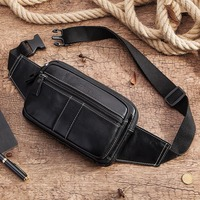 KAVIS Fashion 100% Cowhide Genuine Leather Men Waist Bag Packs Pack Belt Loops Hip Mobile Phone Holder Pouch for Male