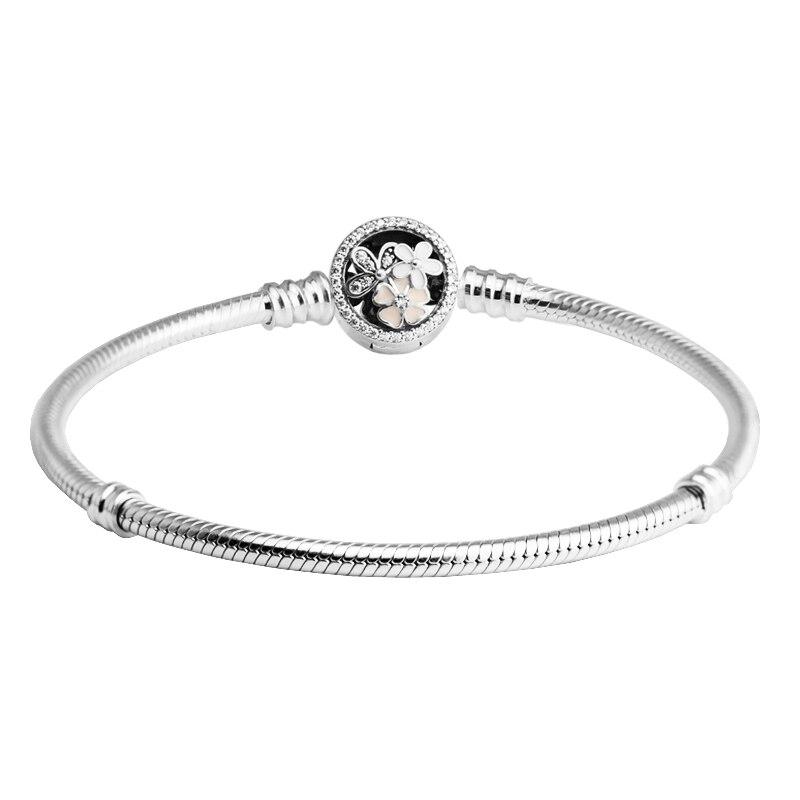 Echt 925 Sterling Silber Poetic Blooms Verschluss Armbänder für Frauen Klar CZ feminina Pulseira mujer Silber 925 Schmuck