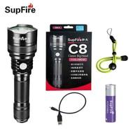 Supfire Flashlight C8 S Lanterna Torch USB Linterna LED Cabeza CREE T6 18650 Flash Light for Convoy Fenix Nitecore Sofirn S016