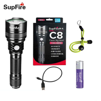 Supfire Flashlight LED Lanterna Torch USB Linterna LED Cabeza CREE XML T6 Tactical 18650 Flash Light 1100lm 10W Zaklam C8 S S16