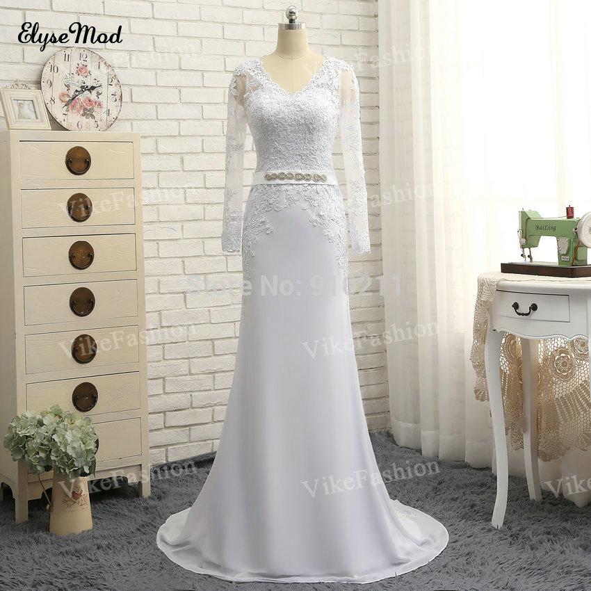 100% Hand Work Lace Appliques Lång Ärmar Skede Bröllopsklänningar Chiffon Sexy Open Back Sweep Train 2018 Brudklänningar