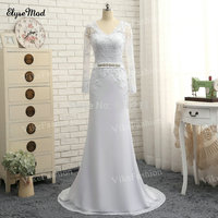 100% Hand Work Lace Appliques Long Sleeves Sheath Wedding Dresses Chiffon Sexy Open Back Sweep Train 2018 Bridal Gowns