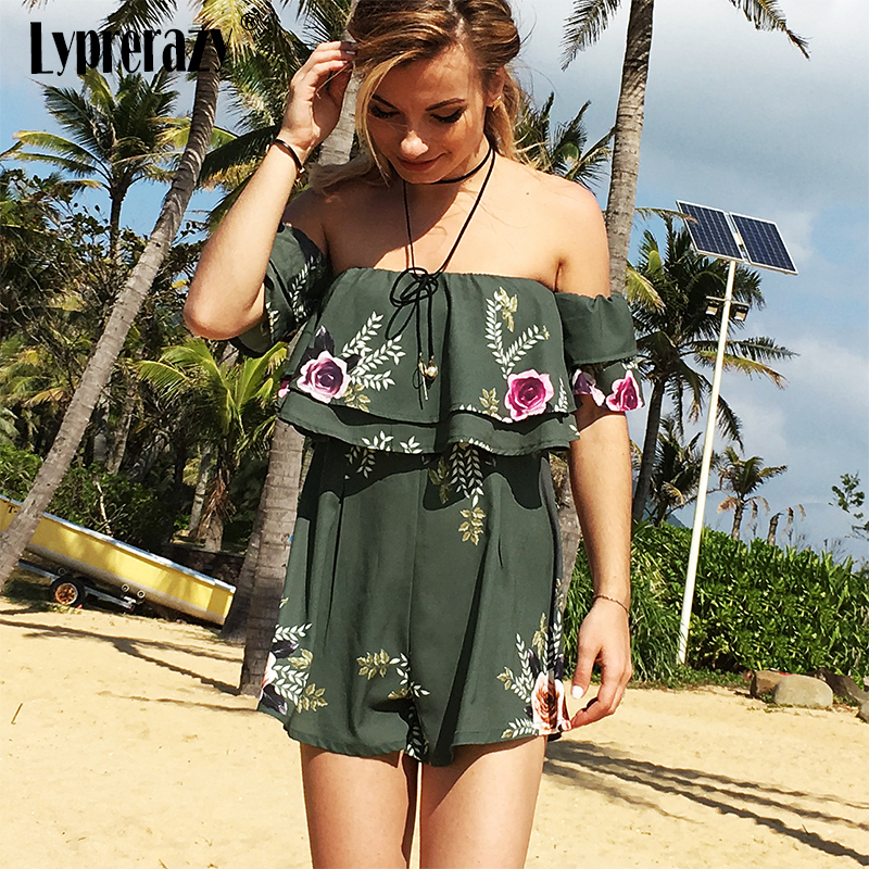 Lyprerazy Green embroidery Ruffle jumpsuit sexy jumpsuit Slash Neck casual summer Beach Boho Floral Printed women romper