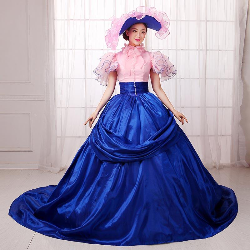 18th siècle bleu et rose à manches courtes dentelle Rococo robe de soirée cour européenne mascarade banquet robes de bal