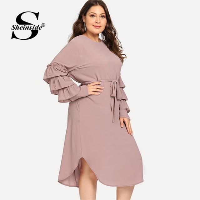 Sheinside Plus Size Layered Sleeve Pearls Beaded Dress Women 2019 Spring Elegant Flounce Sleeve Midi Dresses Ladies A Line Dress 2