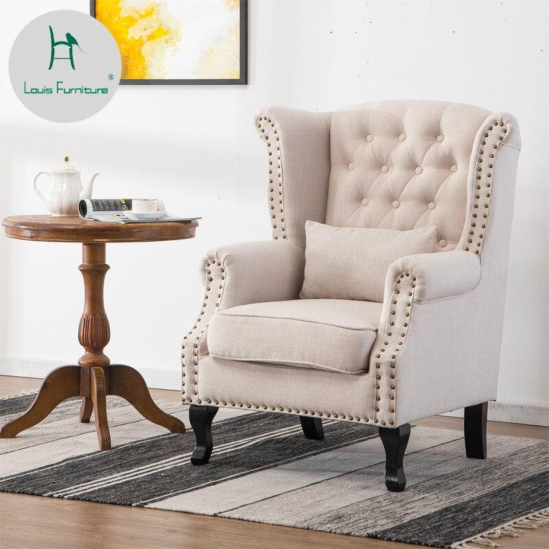 Stool Sofa Tiger-Chair Retro-Fabric Hotel-Room American Single-Person European Fashion