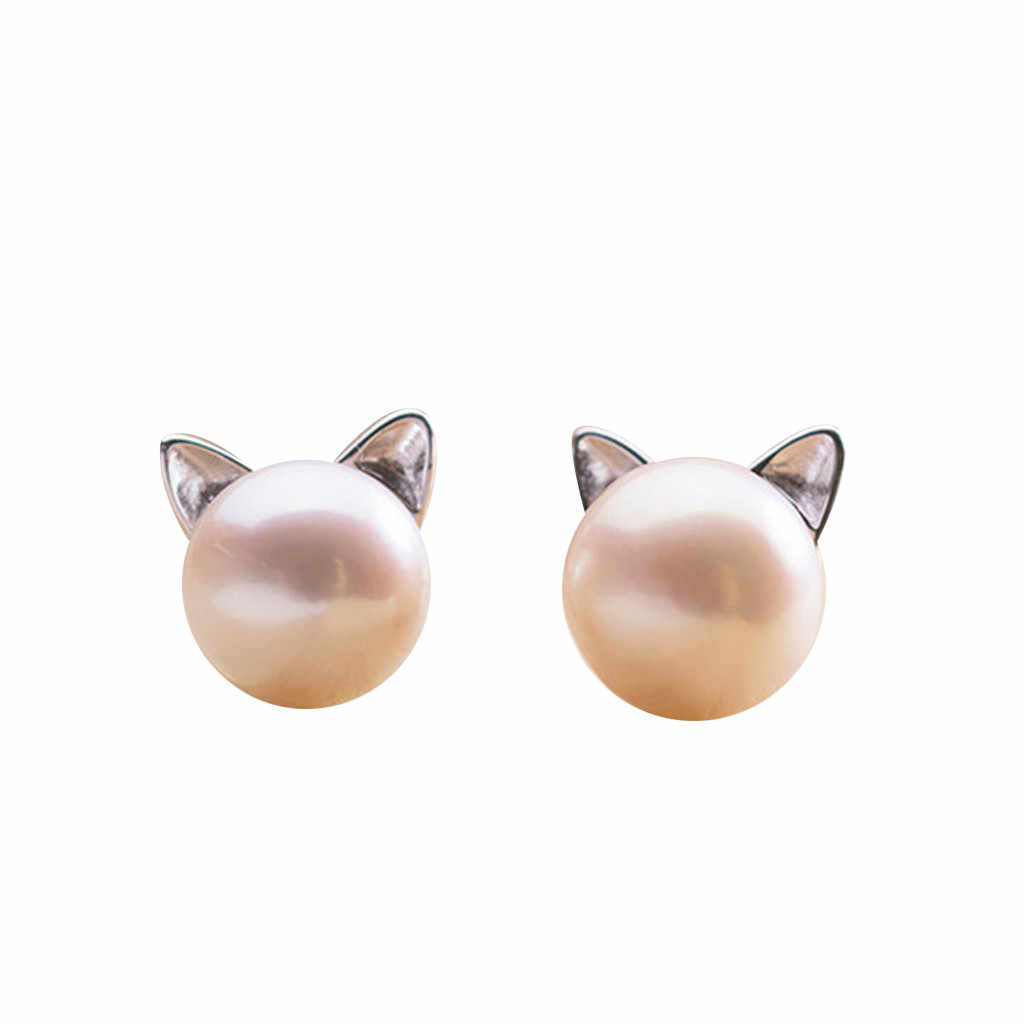 1 Pair Popular Girl's Cute Cat Ear Earrings And Pearl Earrings Casual Elegance Fashion Luxury Earrings  Gift