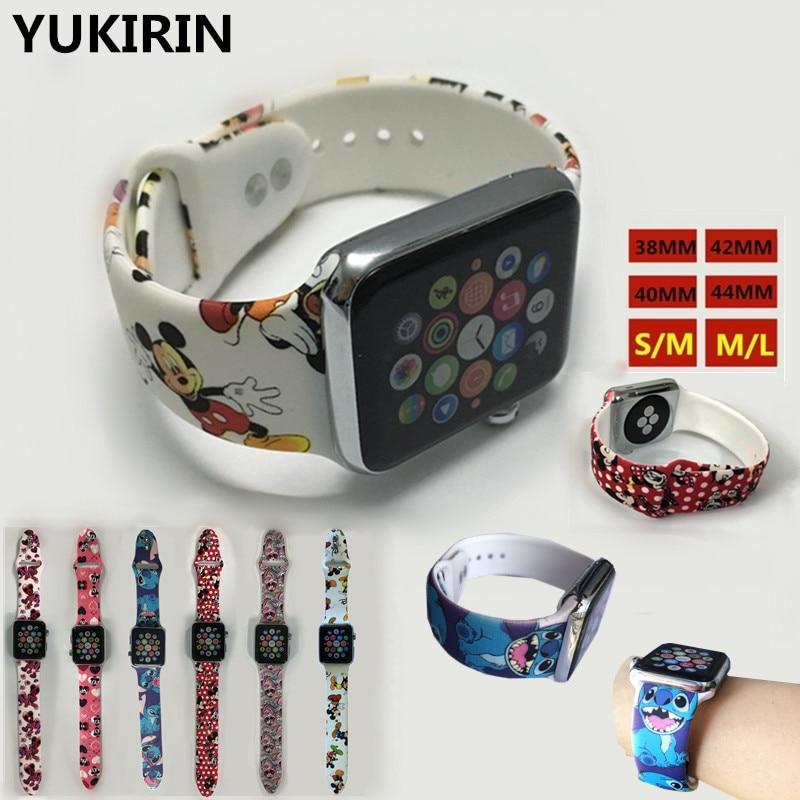 YUKIRIN Cartoon Mickey Stitch Silicone Sport Band For Apple Watch Series 4 3 2 1 Wrist Strap For IWatch Kid Girl 38 42mm 40 44mm