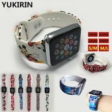 YUKIRIN мультфильм Микки стежка силиконовый спортивный ремешок для Apple Watch Series 4 3 2 1 ремешок для iWatch Kid Girl 38 42 мм 40 44 мм