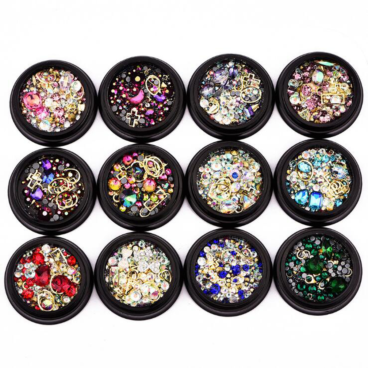 1box Plastic Nail Art Jewelry 4cm Black Boxed Colorful Diamond Manicure Accessories Inlaid Nail Beauty Tool 12 Type To Choose