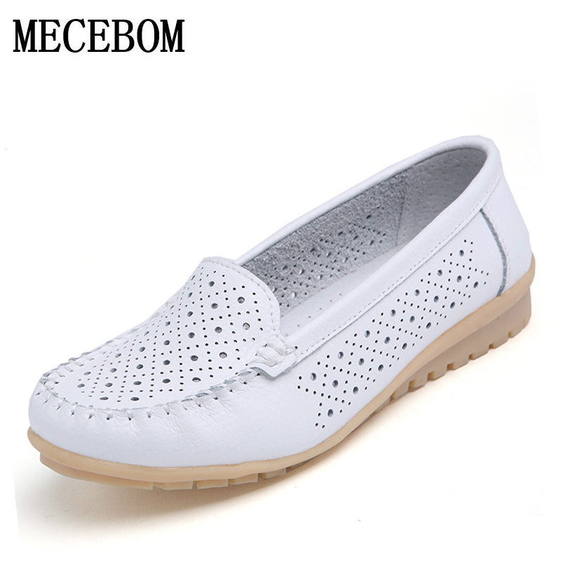 2017 Summer New Fashion Leather Women Flats Moccasins Comfortable Woman Shoes Cut-outs Leisure Flat Woman Casual Shoes 169W new fashion 2016 summer korean style woman flats cut outs breathable bowtie flat single shoes sweet concise casual flats st385