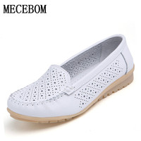 2016 Spring Women Flats Shoes Women Genuine Leather Shoes Woman Cutout Loafers Slip On Ballet Flats