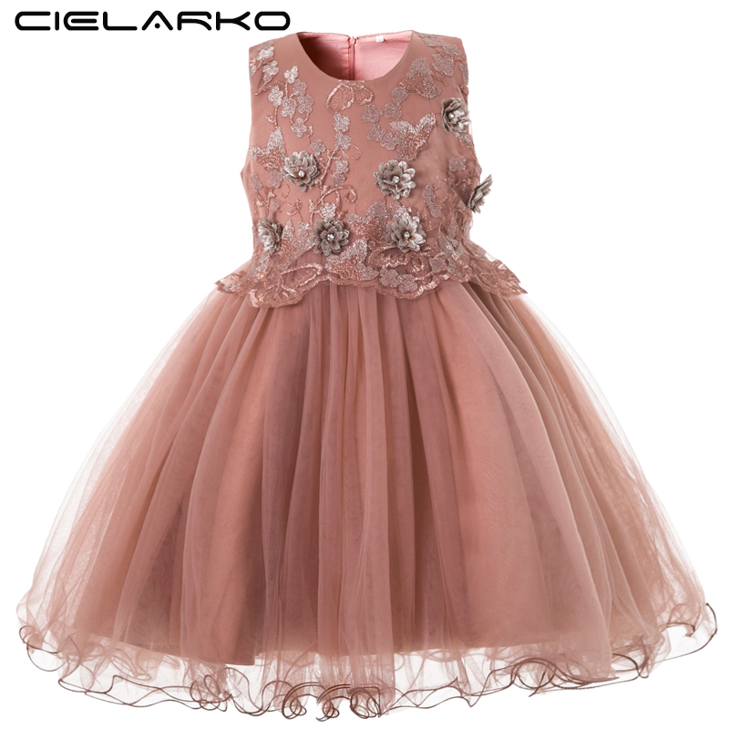 Cielarko Elegant Girls Dress For Wedding Birthday Party Princess Flower Girl Dresses Kids Formal Ball Gown Tulle Fancy Frocks