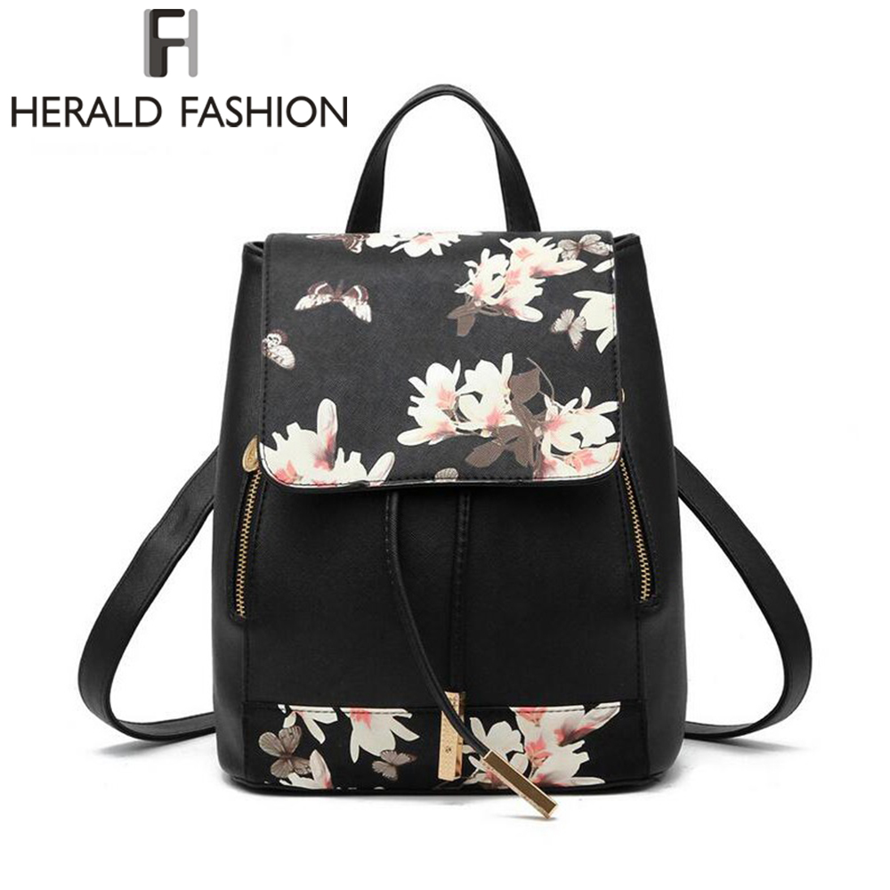 Herald Fashion Printing Women Leather Backpack With Floral Causal School Student Bag For Teenage Girls Lady's Traveling  Mochila