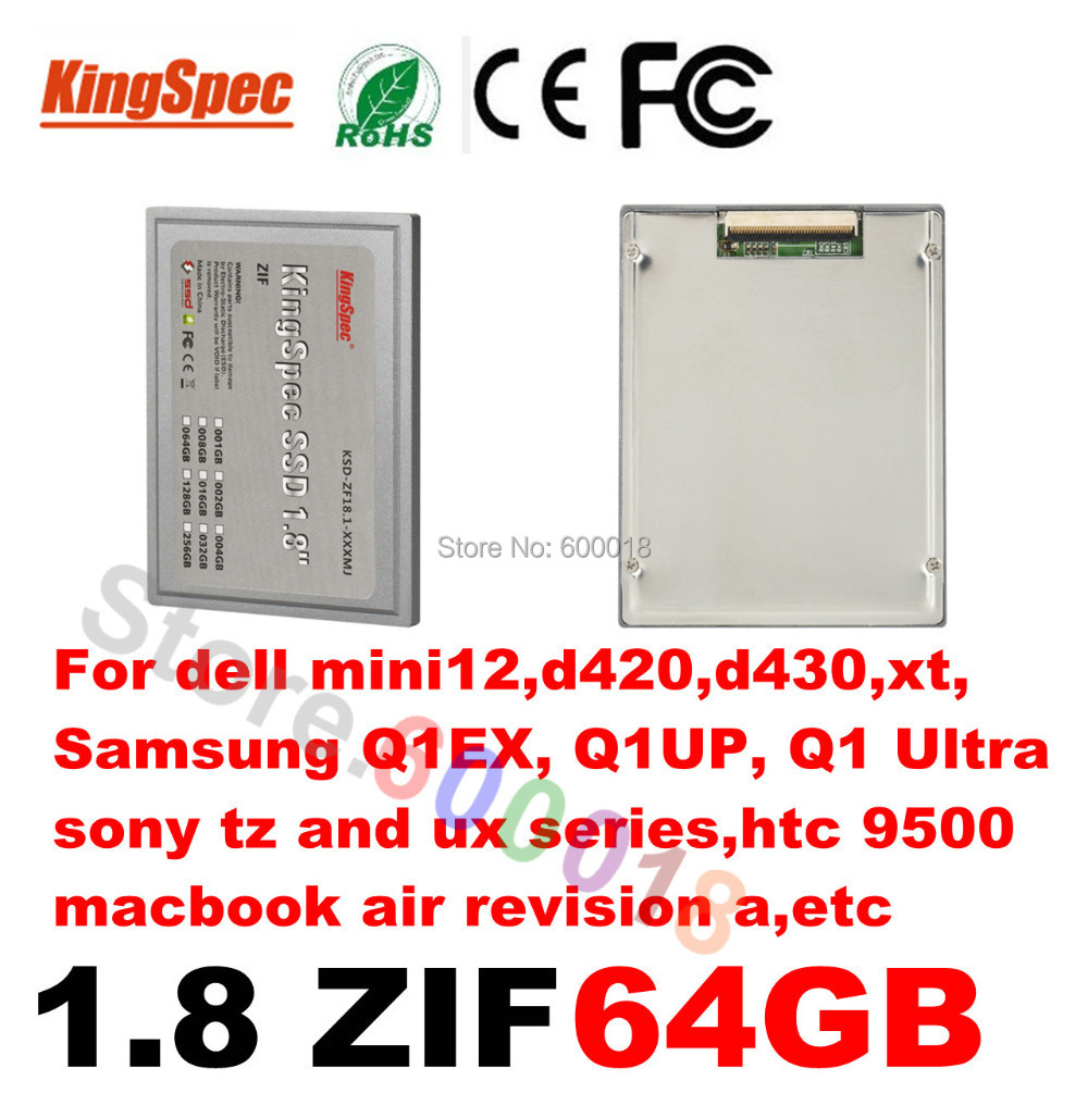 Kingspec ssd 1.8 inch ZIF 2 CE Solid State Drive Disk HD 1.8 SSD 64GB HDD Hard Drive for dell mini12,d420,d430,xt,htc9500 недорго, оригинальная цена