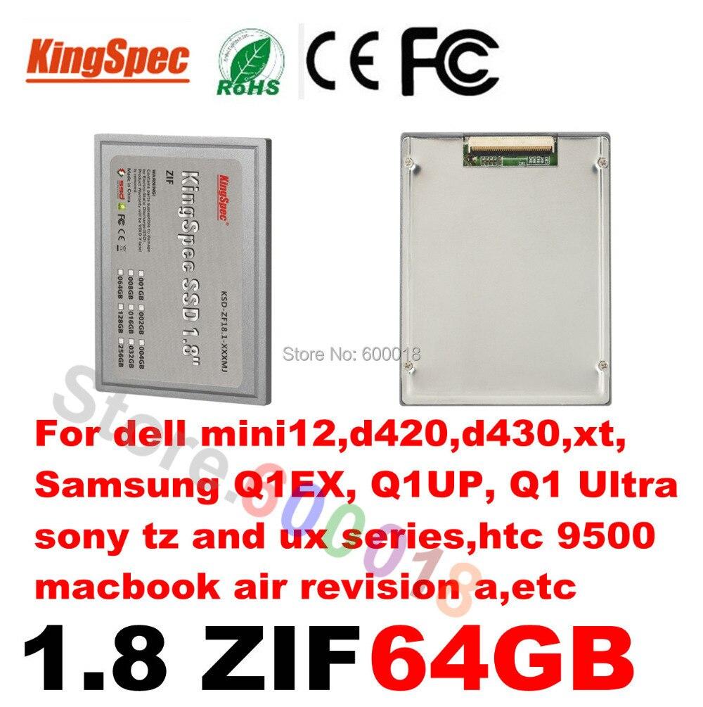 Kingspec ssd 1.8 pouces ZIF 2 CE disque dur à semi-conducteurs HD 1.8 SSD 64GB disque dur pour dell mini12, d420, d430, xt, htc9500