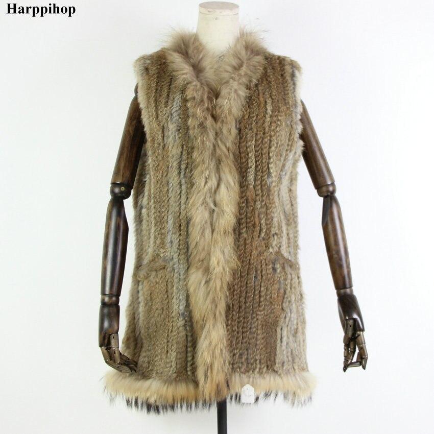 Paragraph hooded rabbit fur raccoon fur vest long design black