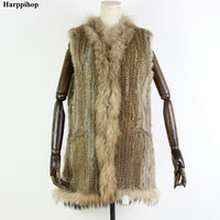 Paragraph hooded rabbit fur raccoon fur vest long design black