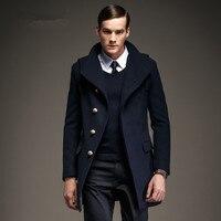 Последние Дизайн 50% Шерстяное пальто Европа озера синие с капюшоном шерстяные Trenchcoat Человек зима теплая красная модная верхняя одежда Для м