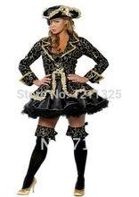 Talla grande s-3xl nuevas mujeres de lujo pirata Halloween Cosplay  disfraces vestido con sombrero Eyecover venta al por mayor Re. 25d39d341af