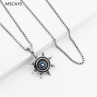 MCSAYS Hip Hop Jewelry Anchor Compass Pendant 70cm Round Box Chain Stainless Steel Necklace Men S