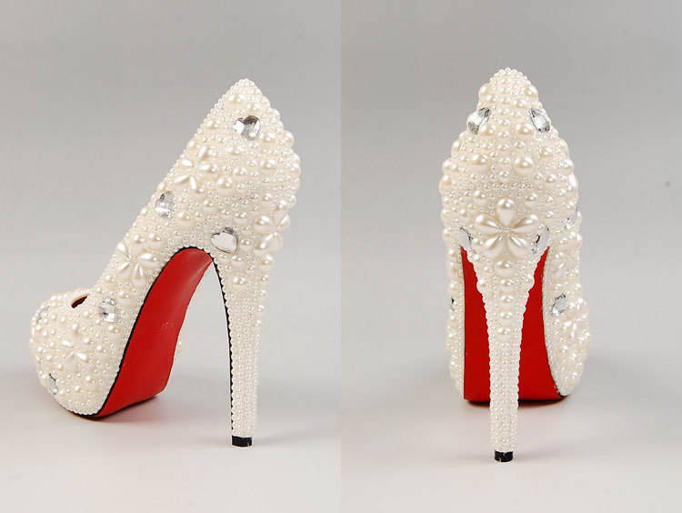 super popular 19cd6 856bf Chic Ivory Peep Toe Wedding Shoes Red Bottom Bridesmaid ...