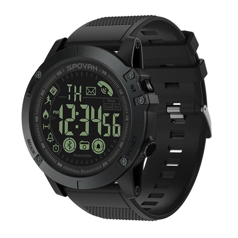 Spovan Marca Top Qualidade Militar Qualidade UM Plástico Preto Relógio Do Esporte Militar relógio de Pulso Do Bluetooth À Prova D' Água Data Reloj Mujer