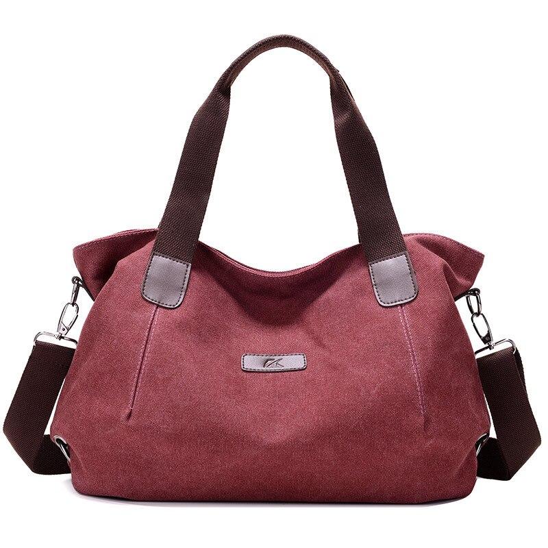 Canvas Handbags Casual Large Capacity Female Totes Hobos Solid Shoulder Bag Vintage Crossbody Bags Bolsas