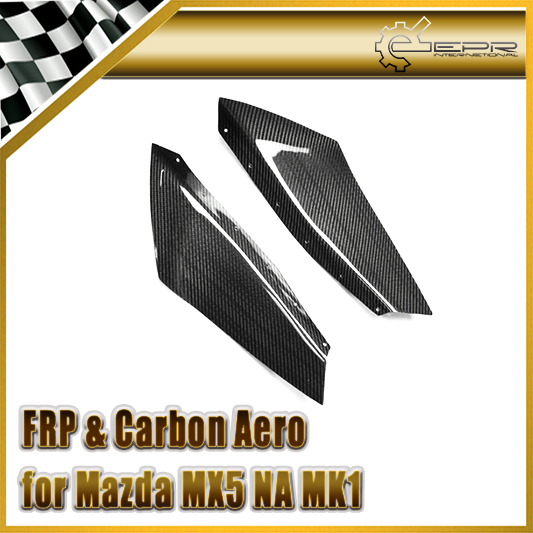 EPR Car Styling For Mazda MX5 NA MK1 Miata Carbon Fiber ARS Style Front Bumper Canard Glossy Fibre Finish Trim Accessories universal auto car bumper moulding decorative fins canards front splitter sticker carbon fiber car styling for all cars 4pcs set