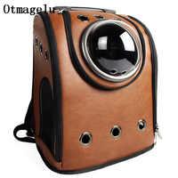 Новая кожаная космическая капсула, рюкзак для кошек, пузырчатое окно для котенка, щенка, маленькие переноски для собак, ящик для путешествий...