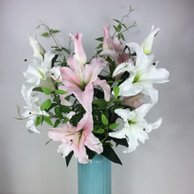 INDIGO- High Quality Super Real Touch PU Foam Lily Home Flower Artificial BIG Flowers Lily Wedding Flower Party Free Shipping