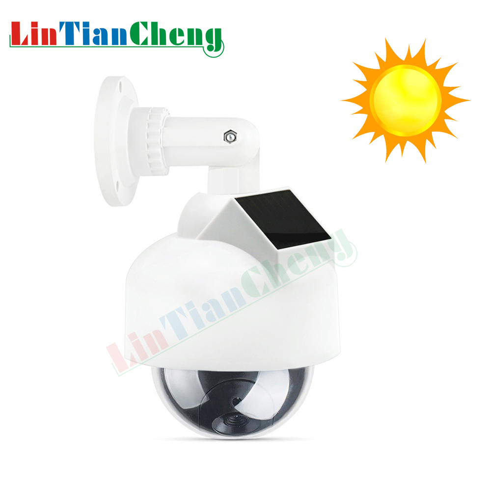 LINTIANCHENG Dome Dummy Cctv Camera Solar Powered Night With Led Light Outdoor Fake Imitation Camera For Security Free Shipping