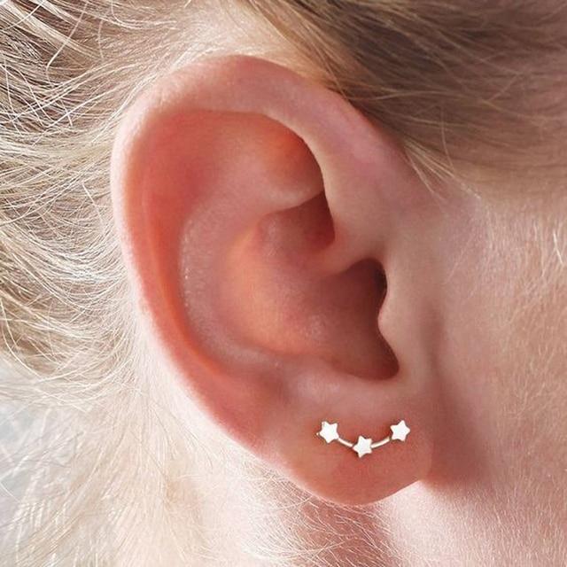 Minimalist Simple Three Star Stud Earrings For Women Ear Line Climbers Crawlers Earring