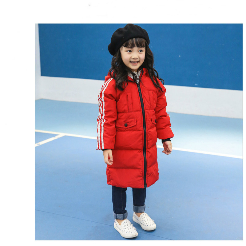 Fashion winter children's down jacket warm thickened Slim long children's clothing men and women in large children's down jacket pu leather and corduroy spliced zip up down jacket