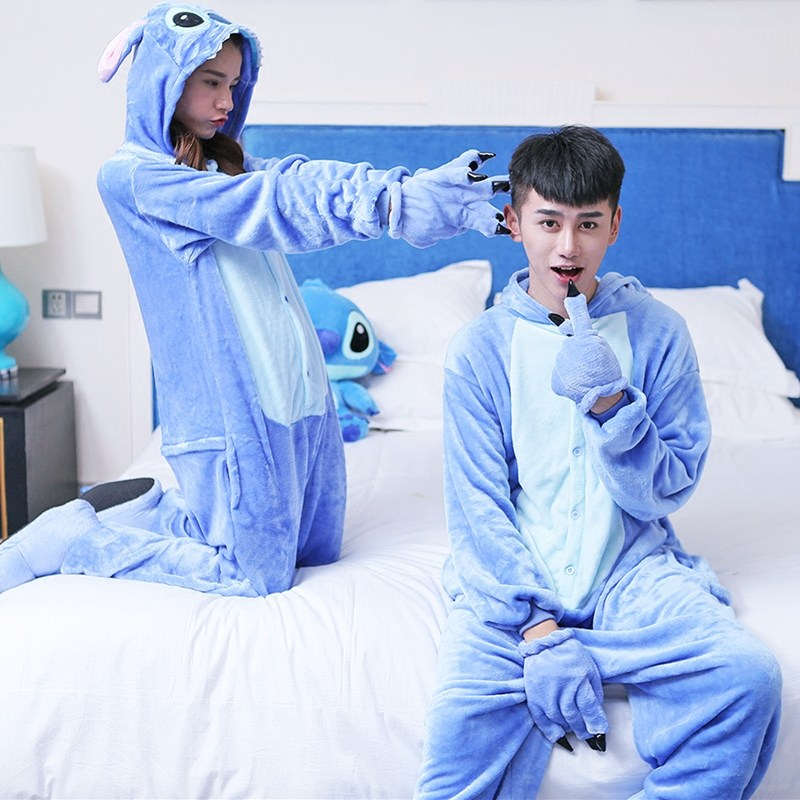 Party Dress New Pijama Stitch Unisex Adult Pajamas Cosplay Cartoon Animal Onesies Sleepwear Couple Christmas Halloween Costume image