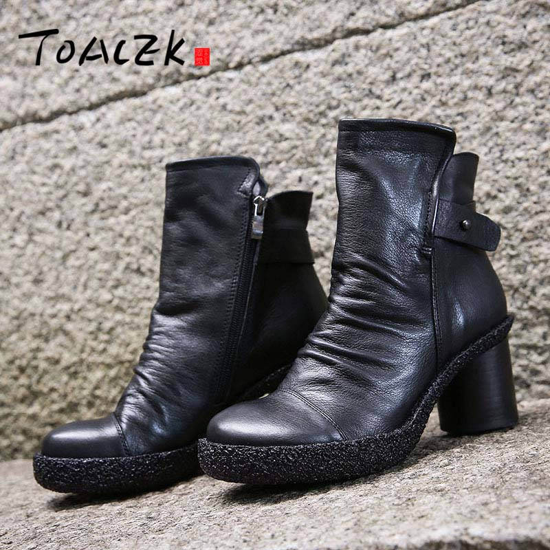 big size 35-41 fashion autumn winter boots women round toe zip genuine leather boots thick high heels ankle boots цена