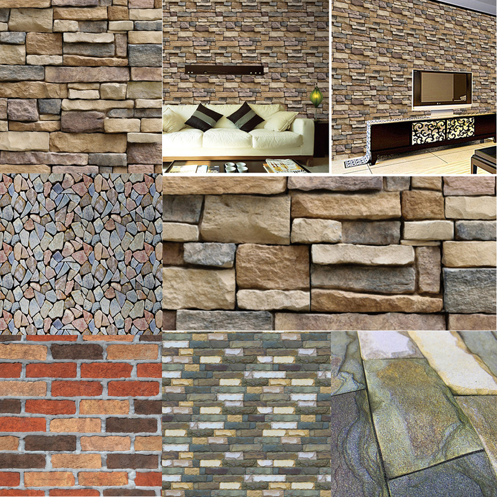 100x45cm Imitation 3D Brick Stone Wall Stickers Self-adhesive Wallpaper Art Wall Decals For Kids Living Room Kitchen Wall Decor